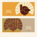 De gelukkige ontwerpen van de Dankzeggings minimalistische banner vector illustratie