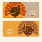 De gelukkige ontwerpen van de Dankzeggings vlakke minimalistische banner vector illustratie