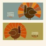 De gelukkige ontwerpen van de Dankzeggings vlakke minimalistische banner royalty-vrije illustratie