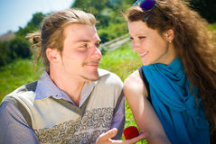 De gelukkige Overeenkomst van het Paar Stock Foto