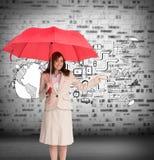 De gelukkige paraplu van de onderneemsterholding Stock Foto