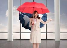 De gelukkige paraplu van de onderneemsterholding Stock Fotografie