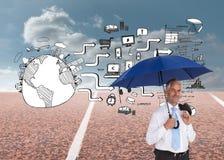 De gelukkige paraplu van de zakenmanholding Royalty-vrije Stock Foto's