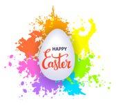 De gelukkige Pasen-groetachtergrond met verf ploetert textuur en hand het van letters voorzien Stock Afbeeldingen