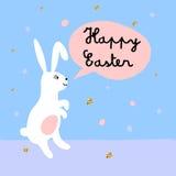 De gelukkige Pasen-groetkaart met leuk konijntje en gouden schittert textuur Stock Afbeelding