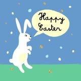 De gelukkige Pasen-groetkaart met leuk konijntje en gouden schittert textuur Stock Fotografie