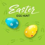 De gelukkige Pasen-jacht handdrawn Van letters voorziende kaart whith verfraaide eieren en Pasen-konijn` s sporen - Vectorillustr Stock Afbeeldingen