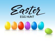De gelukkige Pasen-jacht handdrawn Van letters voorziende kaart whith verfraaide kleurrijke eieren op witte achtergrond - Vectori Royalty-vrije Stock Afbeeldingen