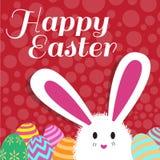 De gelukkige Pasen-kaart is konijnei en rode puntachtergrond Royalty-vrije Stock Foto's
