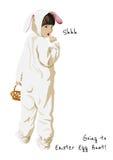 De gelukkige Pasen-kaart van de vakantiegroet De jacht van het konijntjesei Royalty-vrije Stock Afbeeldingen