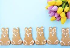De gelukkige Pasen-Konijntjes van het Peperkoekkoekje Stock Foto