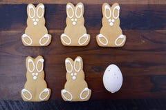 De gelukkige Pasen-Konijntjes van het Peperkoekkoekje Royalty-vrije Stock Afbeeldingen