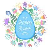 De gelukkige Pasen-retro wijnoogst van de kaartenillustratie met Pasen-konijntje, Pasen-konijn, ornamenten Royalty-vrije Stock Foto's