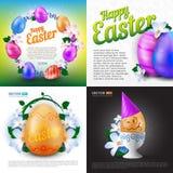 De gelukkige Pasen-vakantie vectorreeks groetkaarten, affiches of banners met kleur schilderde eieren en de lentebloemen Royalty-vrije Stock Foto's