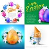 De gelukkige Pasen-vakantie vectorreeks groetkaarten, affiches of banners met kleur schilderde eieren en de lentebloemen Stock Afbeelding