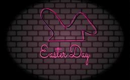 De gelukkige Pasen-van het de achtergrond kaartneon van de Handbrief vector-vector het Teken Vector Abstracte van het Heldere roz vector illustratie