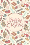 De gelukkige Pasen-van letters voorziende krantekop van de Handtekening op decoratieve backg Stock Foto's