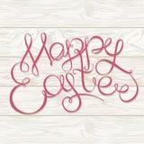 De gelukkige Pasen-van letters voorziende krantekop van de Handtekening op houten backgroun Stock Afbeeldingen