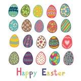 De gelukkige Pasen-Vectorillustratie van Kleureneieren Royalty-vrije Stock Foto