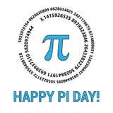 De gelukkige Pi-Dag viert Pi-Dag Wiskundige constante 14 maart Verhouding van een cirkels omtrek aan zijn diameter stock illustratie