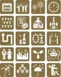 De gelukkige pictogrammen van het Nieuwjaar Stock Fotografie