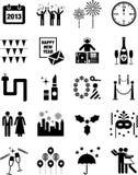 De gelukkige pictogrammen van het Nieuwjaar Royalty-vrije Stock Afbeelding