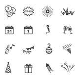 De gelukkige pictogrammen van het Nieuwjaar vector illustratie