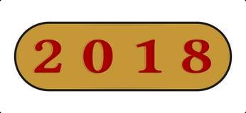 De gelukkige pictogramtype van de Nieuwjaar 2018 Abstracte knoop illustratie met maakt in reliëf Royalty-vrije Stock Foto