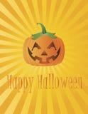 De gelukkige Pompoen van Halloween met de Illustratie van de Stralen van de Zon Stock Fotografie