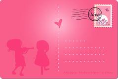 De gelukkige prentbriefkaar van de valentijnskaart`s dag vector illustratie