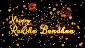 De gelukkige Raksha Bandhan Abstract-deeltjes en schitteren de kaarttekst van de vuurwerkgroet vector illustratie