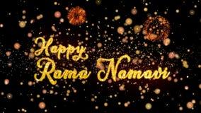 De gelukkige Rama Namavi Abstract-deeltjes en schitteren de kaarttekst van de vuurwerkgroet royalty-vrije illustratie