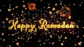 De gelukkige Ramadan Abstract-deeltjes en schitteren de kaarttekst van de vuurwerkgroet royalty-vrije illustratie