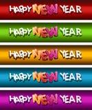 De gelukkige Reeks van de Banner van het Nieuwjaar. Stock Afbeeldingen