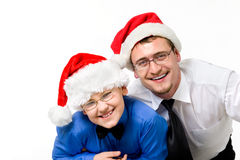 De gelukkige reeks van familieKerstmis die op wit wordt geïsoleerd royalty-vrije stock foto's