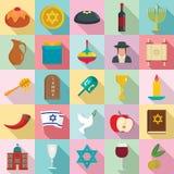 De gelukkige reeks van het hanukkahpictogram, vlakke stijl vector illustratie