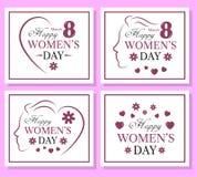 De gelukkige reeks van de Vrouwen` s Dag van malplaatjekaart Royalty-vrije Stock Afbeeldingen