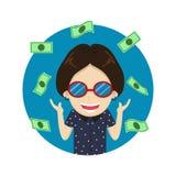 De gelukkige rijke man van het karakterbeeldverhaal met een geld vector illustratie