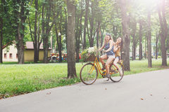 De gelukkige rit van boho elegante meisjes samen op fietsen in park Royalty-vrije Stock Foto