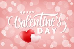De gelukkige romantische achtergrond van de Valentijnskaartendag met realistische harten 14 februari-vakantiegroeten Royalty-vrije Stock Foto's