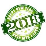 De gelukkige rubberzegel van Nieuwjaar 2018 grunge Stock Afbeelding