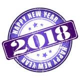 De gelukkige rubberzegel van Nieuwjaar 2018 grunge Stock Afbeeldingen