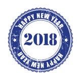 De gelukkige rubberzegel van Nieuwjaar 2018 grunge Royalty-vrije Stock Foto's