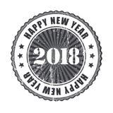 De gelukkige rubberzegel van Nieuwjaar 2018 grunge Stock Foto's