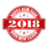 De gelukkige rubberzegel van Nieuwjaar 2018 grunge Stock Fotografie