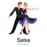 De gelukkige Salsa-dansers koppelen op wit de pictogrampictogram, mens en vrouw in kleding die aan hartstocht dansen stock illustratie