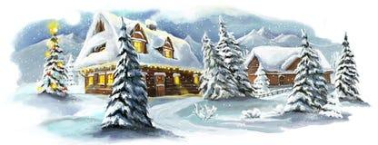 De gelukkige scène van de Kerstmiswinter stock illustratie