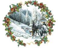 De gelukkige scène van de Kerstmiswinter met paarden en met een kader Stock Afbeeldingen