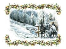 De gelukkige scène van de Kerstmiswinter met paarden en met een kader Royalty-vrije Stock Foto's