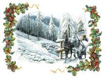 De gelukkige scène van de Kerstmiswinter met paarden en met een kader Stock Foto